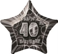 "Glitz 20"" Star Balloon Black & Silver - Age 40"